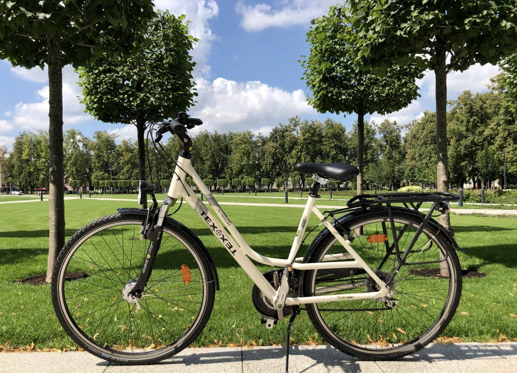Touring bike Texo with a background of the park in Vilnius for rent