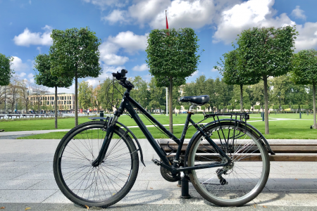 Univega Hybrid bike for woman in the background of the park in Vilnius for rent